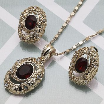 Gold Layered Women Earring and Pendant Adult Set, with Garnet Crystal, by Folks Jewelry