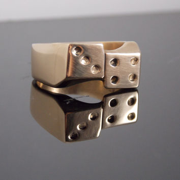 Lucky 7 Dice Ring Hand Made In Solid Brass Made To Order ( Hand Carved )