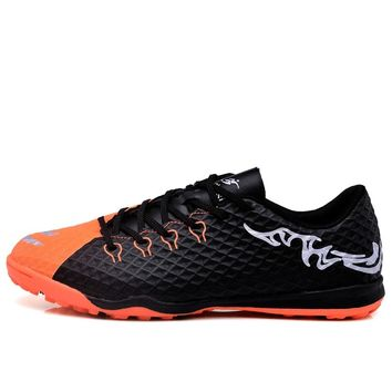MAULTBY Men's Orange / Black TF Turf Sole Outdoor Cleats Football Boots Shoes Soccer Cleats #STF31704B