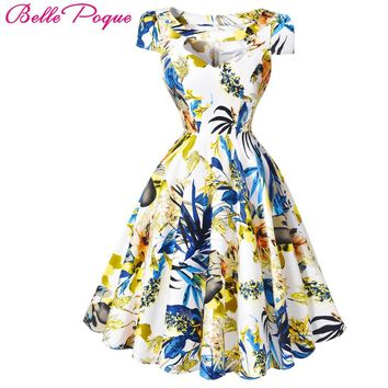 Belle Poque Summer Dress Women 2017 Pin Up Womens Floral Dresses Retro Casual Party robe ete Rockabilly 60s 50s Vintage Dresses