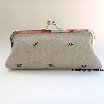 linen clutch, purse, wallet, cosmetic bag, pouch, wedding, bridal, beige, taupe, bridesmaid, spring wedding, spring wallet, gift for her