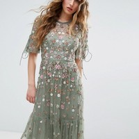 Needle and Thread Floweret Embellished Midi Dress at asos.com