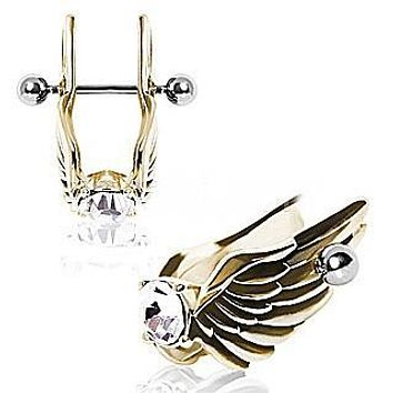 Gold-Plated Feathered Angel Wings with Gem Cartilage Earring