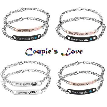 2018 set Bracelets His Queen Her King His Beauty Her Beast Her Prince His Princess Crown Couple pair Bangle Fashion Jewelry Gift