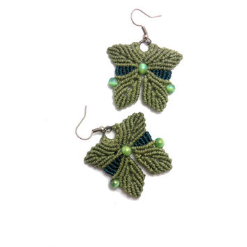 Handmade macrame earrings made with wax cord & mexican opal gemstone beads
