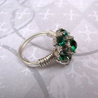 Wire wrapped ring green vintage rhinestone repurposed