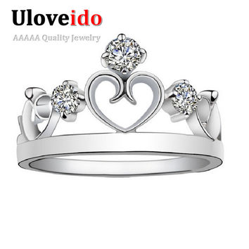 One Piece Crown Rings for Women Simulated Diamond Jewelry Ring Bijoux Vintage Anel Feminino for Wedding Jewellery Ulove J412
