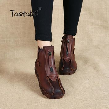Casual Moccasins Flats Ankle Boots Handmade Genuine Leather-Multiple Colors