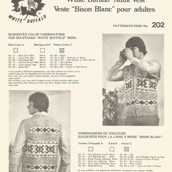 White Buffalo Pattern #202.  Cowichan Salish style sweater, Wool cardigan, Adult, Native Canadian, hippy, West coast, stranded his and hers