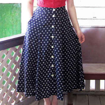 vintage 80s skirt Esprit Navy Blue White Flowers Button up 1980s Rayon skirt M