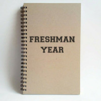 Freshman Year, 5x8 writing journal, custom spiral notebook, personalized brown kraft memory book, small sketchbook, college, high school