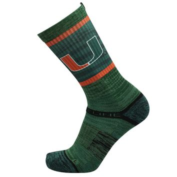 Strideline NCAA University Of Miami Hurricanes Green Crew Socks