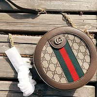 GUCCI high quality new fashion stripe more letter print round crossbody shoulder bag women