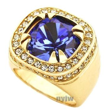 DCCKH7E NEW MENS BIG CHUNKY GOLD PLATED ICED OUT RICH GANG BLUE SAPPHIRE RING R019G