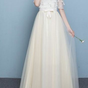 Pleated Appliques Bow Lace-up Off Shoulder Boat Neck Bridesmaid Maxi Dress