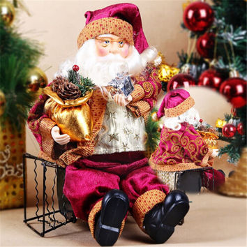 High Quality Christmas Sitting Santa Claus Doll Figurine Toy Home Room Ornament Decoration Decoration Xmas Favor Gift