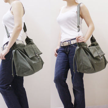Christmas In July Sale - Army Green Canvas Women Shoulder Bag, Tote, Crossbody Messenger, Diapers Bag, Laptop, Travel, School Bag - EZ