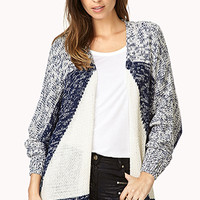 FOREVER 21 Cozy Colorblocked Cardigan Cream/Navy Large