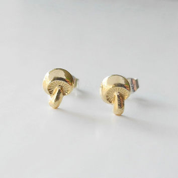 Mushroom Earring Studs with Sterling Silver Posts - Autumn Toadstool Nature Woodland Jewelry - Brass Golden Jewelry