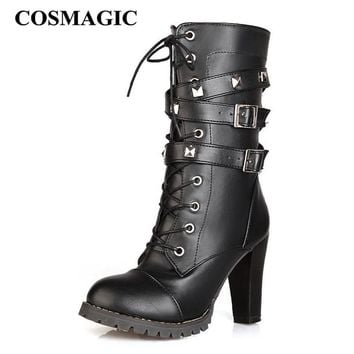 COSMAGIC 2018 New Women Mid Calf Motorcycle Boots High Heel Double Buckle Gothic Punk Zipper Lace Up Platforms Botas Mujer