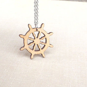 Wood Ship Wheel Necklace Wood Pendant Captains Wheel Party Favor Nautical Jewelry Story Wheel Necklace Nautical Star Necklace Christmas Gift