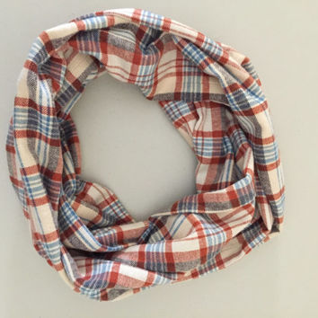 Single Loop Flannel Scarf, Plaid Infinity Scarf, Winter Scarf, Womens Scarf, Scarf, Loop Scarf, Circle Scarf, Christmas Gift
