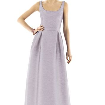 Alfred Sung Scoop Neck Dupioni Full Length Dress | Nordstrom