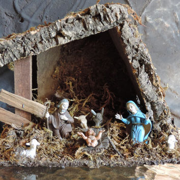 Vintage Primitive Nativity Set Birth of Jesus Christmas Manger Set Rustic Wooden Nativity Scene