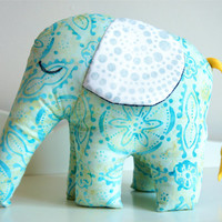Elephant Stuffed Soft Toy, Batik Green