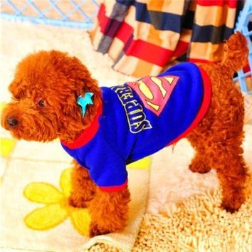 LMFUG3 Dynamic Superman outfit pet dog sweater pet dog clothes Teddy spring sportswear pet clothes dog clothes roupa para cachorro = 1946448772