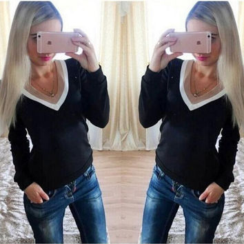 V-Neck Long Sleeve Contrast Blouse