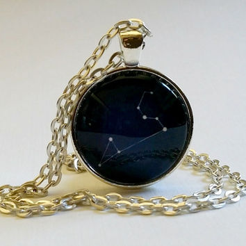 Leo Necklace | Constellation |Glass Necklace | Pendant | Zodiac Sign | August Birthday | Leo the Lion | Star Sign | Astrology | Key Ring