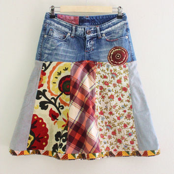S Aline Fall Skirt Hippie boho eclectic Recycled jeans skirt Upcycled Romantic Patchwork Floral Denim Up cycled clothing by Saidonia Eco