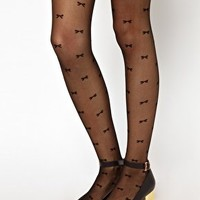 American Apparel Sheer Luxe Bows Tights at asos.com