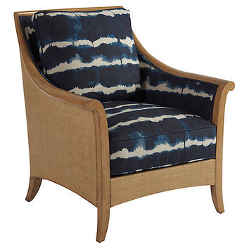 Nantucket Raffia Accent Chair, Indigo Linen - Barclay Butera - Brands | One Kings Lane