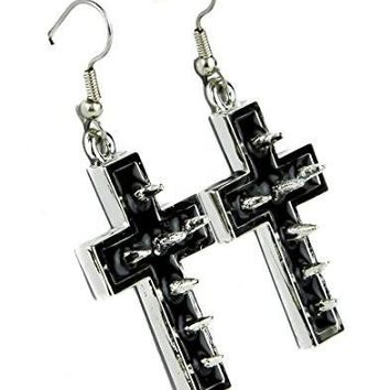 Silver Cross Spike Earrings with Black Inlay Cosplay