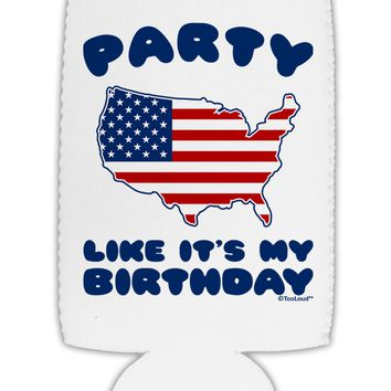 Party Like It's My Birthday - 4th of July Collapsible Neoprene Tall Can Insulator