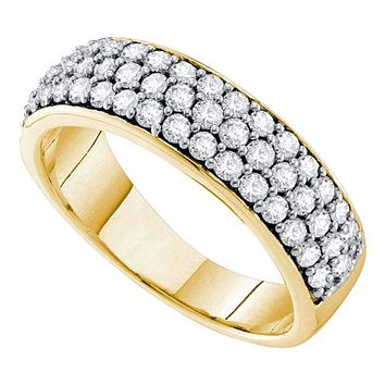 10kt Yellow Gold Women's Round Pave-set Diamond Triple Row Wedding Band 1.00 Cttw - FREE Shipping (US/CAN)