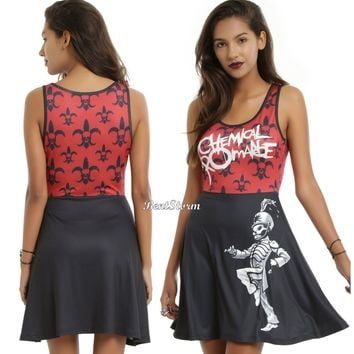 Licensed cool My Chemical Romance Band Black Parade Skull Skater Dress Licensed Juniors S-2X