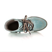 Buy Punk Style Rivet Decorated Lace-up High Heel Boots Blue with cheapest price|wholesale-dress.net