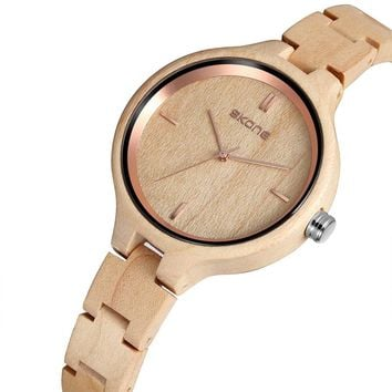 Skone Women's Wood Watches Top Brand Designer Environmentally Friendly Quartz Clock Ladies Dress Wooden Watch reloj mujer