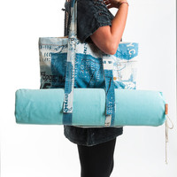 Spring Sale Yoga Mat Bag -  Linen Tote Bag - Yoga Bag- Yoga Accessories - Tiffany Blue Yoga Bag