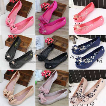 Plastic Adult Melissa Bow Jelly Shoes Discount Cheap Sandals For Women Free Shipping Pointed Toe Flats Nude Black Blue Hot Pink