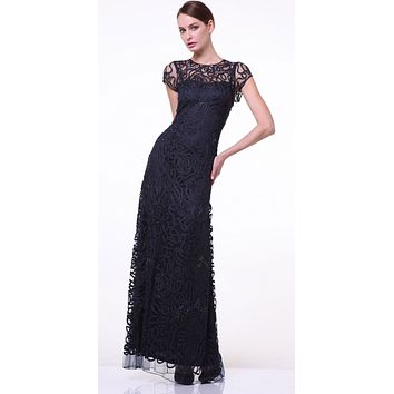 CLEARANCE - Semi Formal Long Lace Black Dress Tea Length Short Sleeve (Size 2XL)