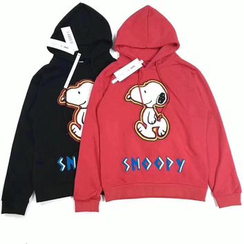 snoopy fashion casual unisex hoodie letter cartoon dog pattern embroidery long sleeve hooded sweater tops