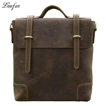 Crazy horse leather shoulder bag men's real leather handbag Nice leather laptop handbag leather school bag