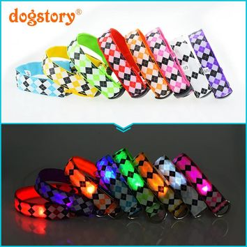 1Pieces/Dogstory New Style Glowing Plaid LED Nylon Pet Cat Dog Collars Flash For Dog Harness Fashion Pet Collars Leash