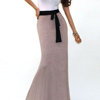White and Khaki Color Block Maxi Dress