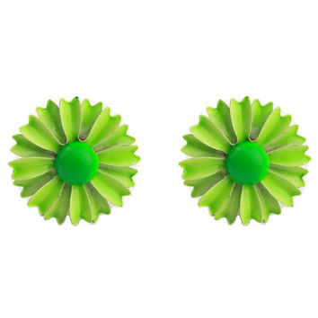Bright Green Enamel Flower Earrings - Clip On Earrings