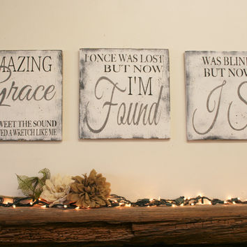 Amazing Grace Sign Christian Wall Art Distressed Wood Rustic Woo